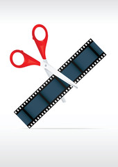 Scissors and film strip. Video editing