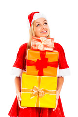 Happy pensive female Santa with Christmas gifts