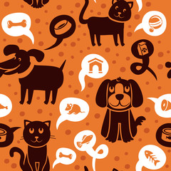 seamless pattern with funny cats and dogs