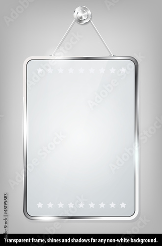 Transparent vector glass frame for your message