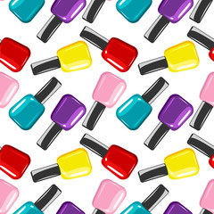 Colorful nail polish vector seamless pattern