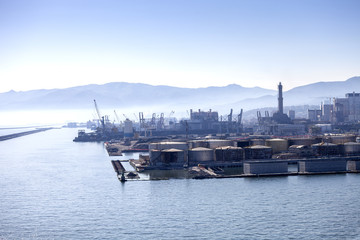 Panorama of the Genova port in Italy.