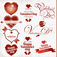 Happy Valentine's Day hand lettering collection.