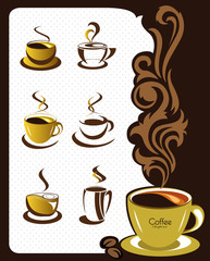 Coffee cup elements and collection for design