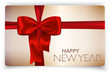 Happy New Year card with red bow and red ribbon