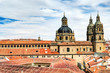 view over roofs to the University Pontifica of Salamanca, Spain