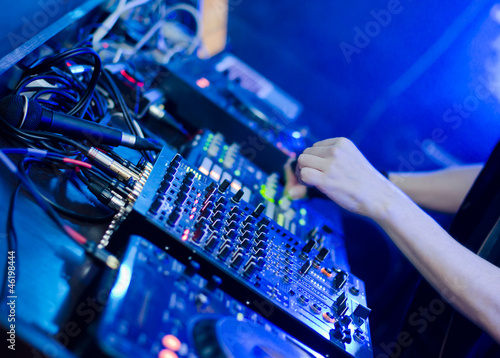 DJ set: DJ hands and DJ desk