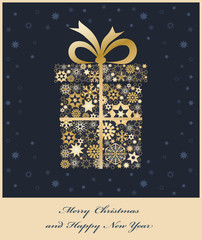 Christmas gift boxe from golden snowflakes