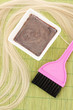 hair dye in bowl and brush for hair coloring
