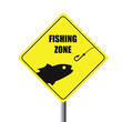 Fishing zone road sign