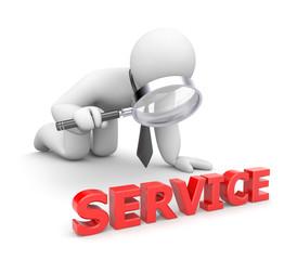 Person examines service