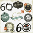 60 years anniversary signs and cards vector design