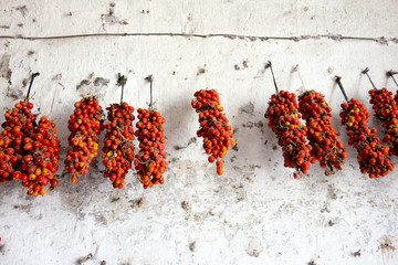 pomodorini appesi a seccare