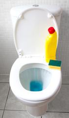 motion blur of toilet flushing bleach