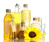 Fototapety oil in jars and sunflower, isolated on white