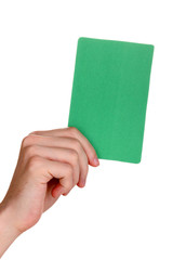 hand holding green card isolated on white