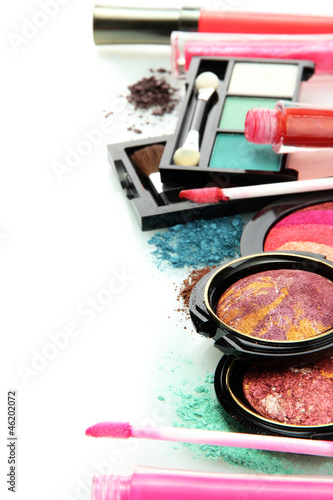 beautiful decorative cosmetics, isolated on white