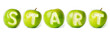 "Word ""start"" made of green apples."