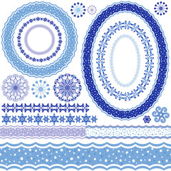 White-blue decorative frames and patterns