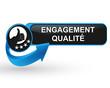 engagement qualité sur bouton web design bleu