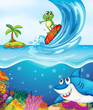 frog and shark fish in sea