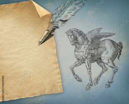 Pegasus with old paper