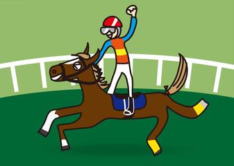 レースに勝利した馬とジョッキーのイラスト