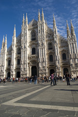 View of the Gothic cathedral of the city of Milan