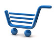 Blue shopping basket sign