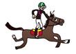 競走馬とジョッキーのイラスト