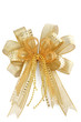 Shiny golden Christmas bow isolated on white