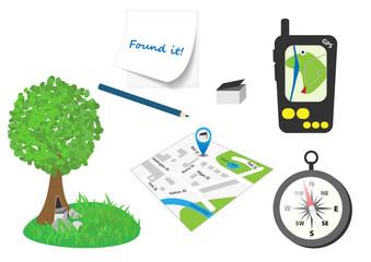Set of illustrated geocaching stuff