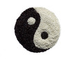 Yin Yang made from black and white rice