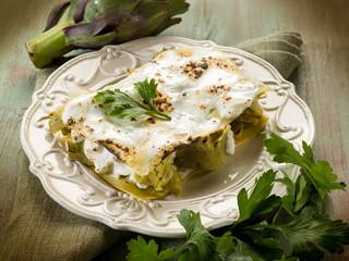 artichoke  lasagne vegetarian food