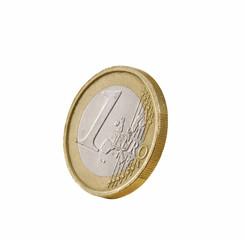 Moneda de un Euro en fondo blanco.
