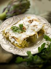 artichoke  lasagne vegetarian food, selective focus