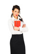 brunette business woman with organizer isolated