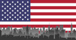 New York City on US flag background. vector fle