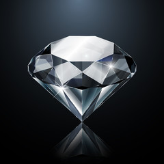Dazzling diamond on black background with reflection