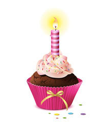 Cupcake mit Kerze