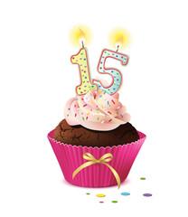 Cupcake mit Kerze und die Zahl 15