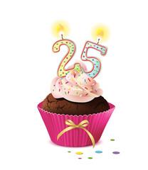 Cupcake mit Kerze und die Zahl 25