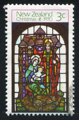 Stained Glass Window Depicting Madonna with Child and Apostle
