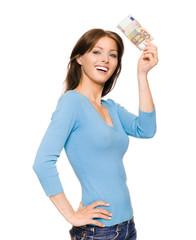 Frau wedelt mit 50 Euro