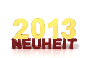 Schriftzug Neuheit 2013 rotgold