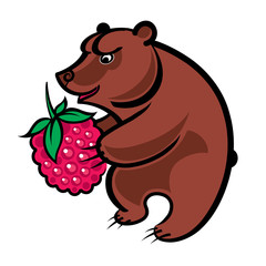 Bear holding a big raspberry