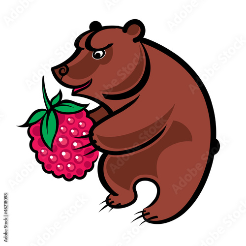Bear holding a big raspberry