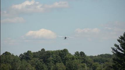 Light private airplane landing