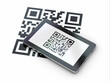 Tablet pc scanning qr code. 3d
