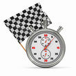 Stopwatch with checkered flag. Start or finish.